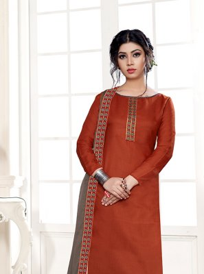 Orange Party Cotton Designer Straight Suit