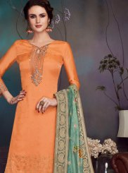 Orange Party Georgette Satin Pant Style Suit