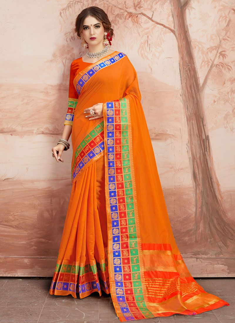 Orange Party Saree