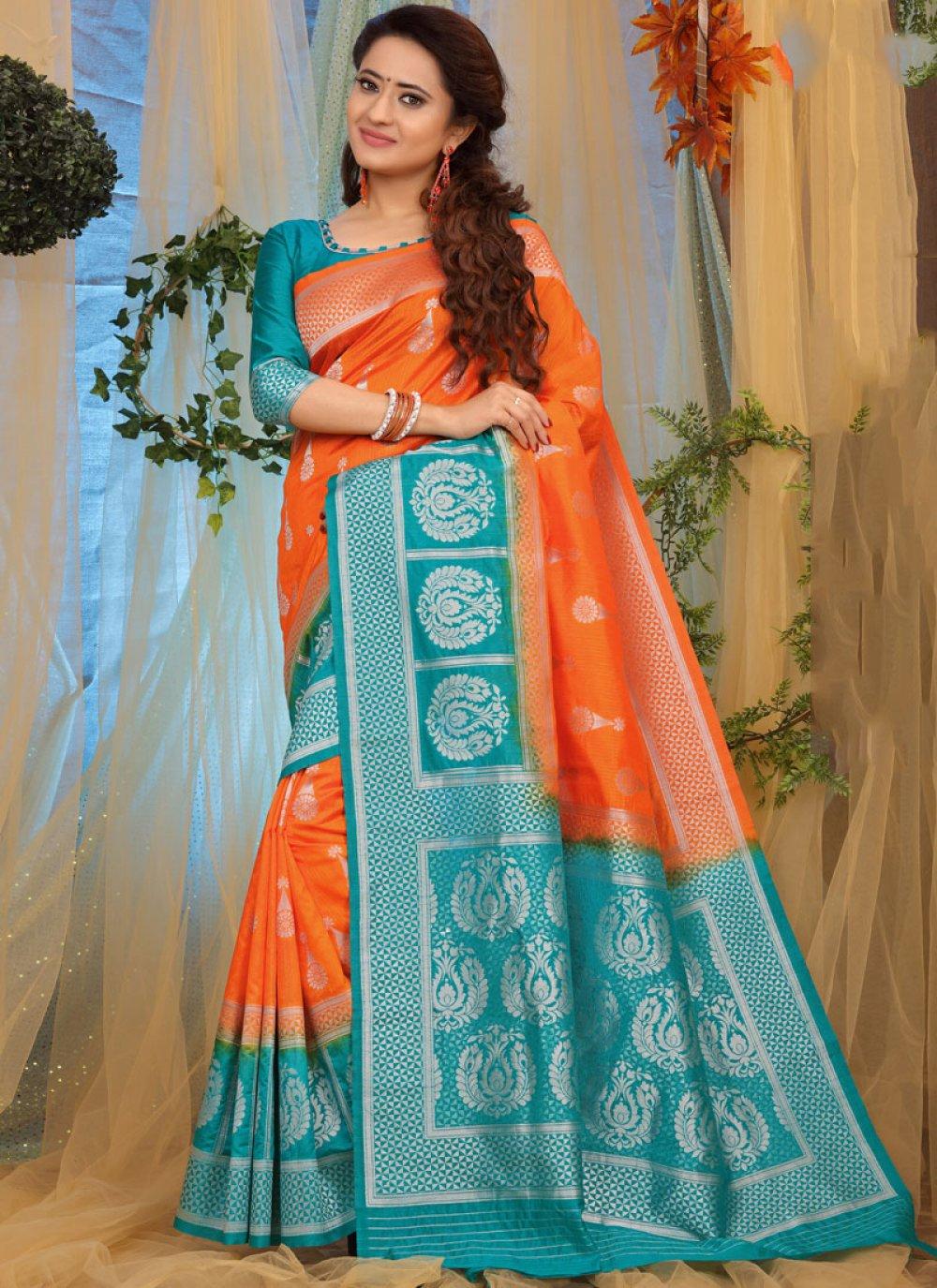 Orange Party Traditional Designer Saree