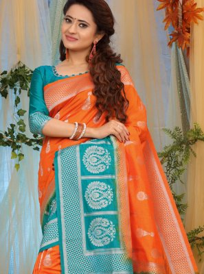 Orange Party Traditional Designer Saree