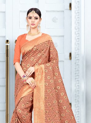 Orange Party Traditional Saree