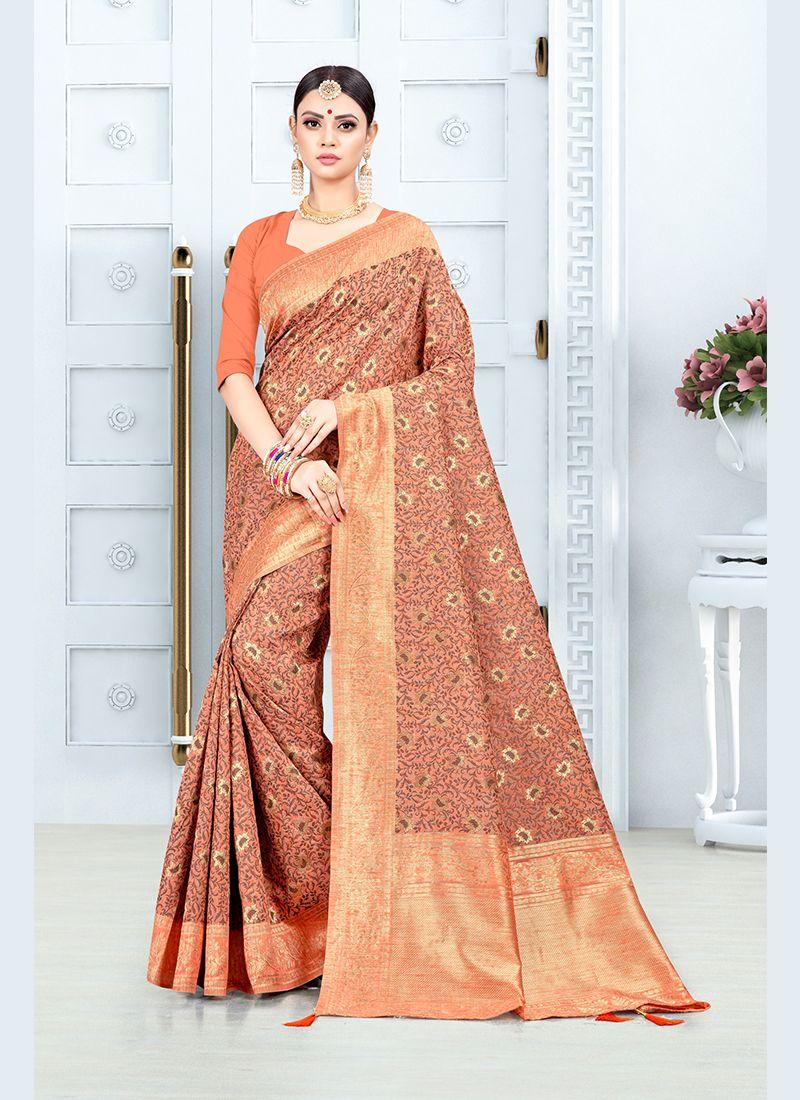 Orange Party Traditional Saree