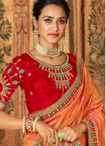 Orange Patch Border Banarasi Silk Classic Designer Saree