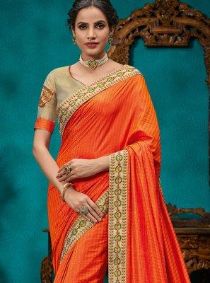 Orange Patch Border Designer Traditional Saree