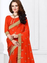 Orange Patch Border Festival Classic Designer Saree