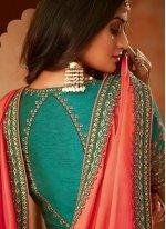 Orange Patch Border Jamawar Silk Trendy Saree