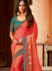 Orange Patch Border Jamawar Silk Trendy Saree