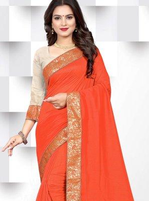 Orange Patch Border Silk Casual Saree