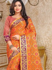 Orange Patola Silk  Casual Classic Designer Saree