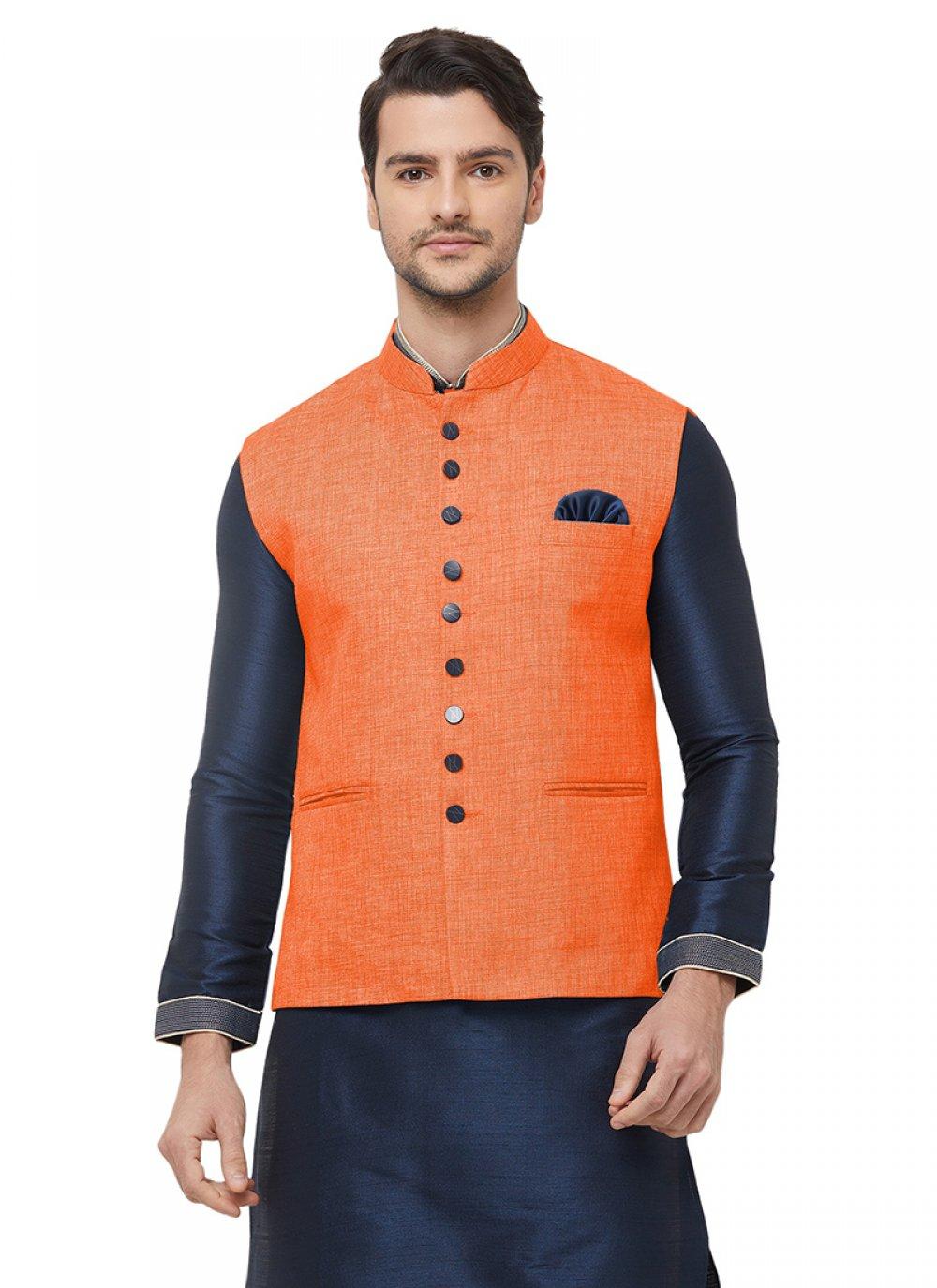 Orange Plain Ceremonial Nehru Jackets