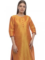 Orange Plain Designer Kurti