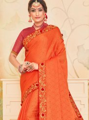 Orange Poly Silk Ceremonial Traditional Saree
