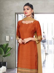 Orange Print Casual Churidar Suit