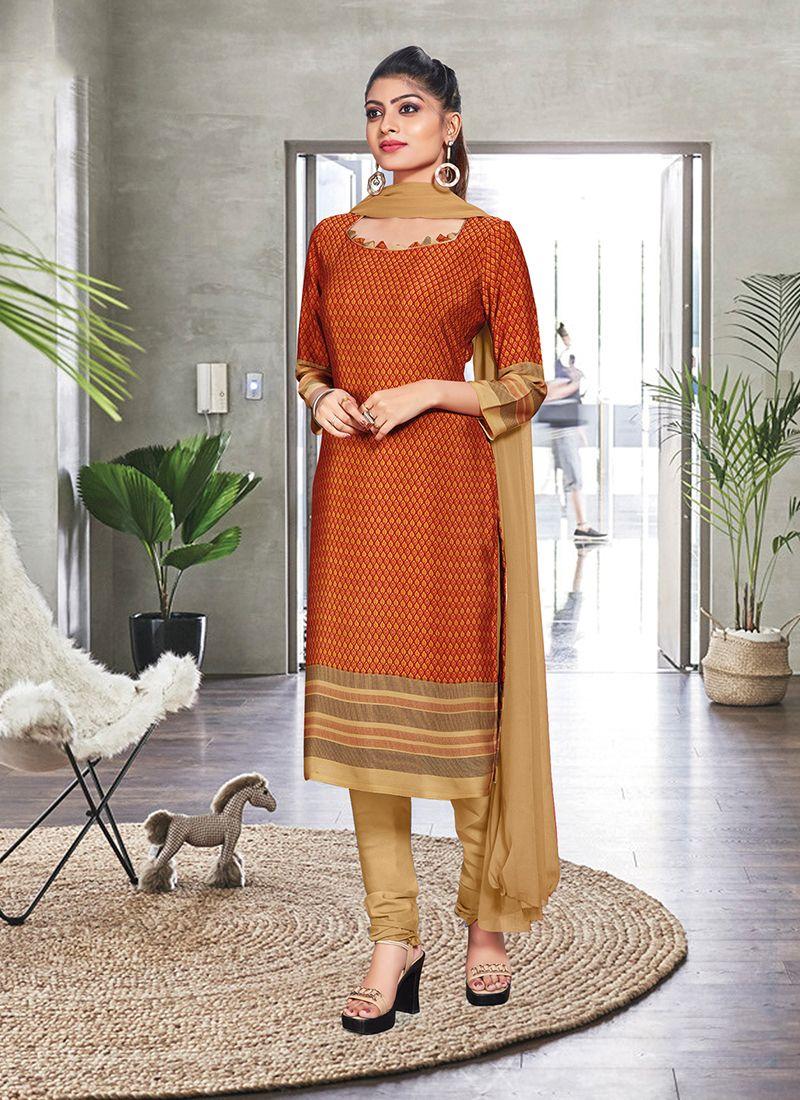 Orange Print Casual Churidar Suit