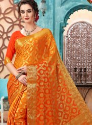 Orange Print Classic Designer Saree