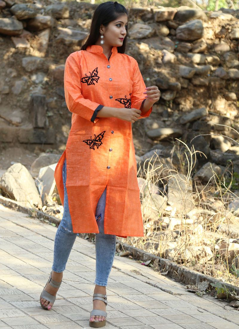 Orange Print Party Wear Kurti
