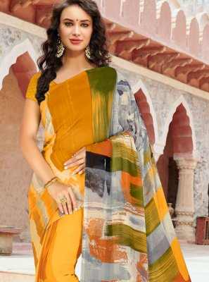Orange Printed Casual Saree