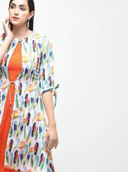 Orange Printed Designer Kurti