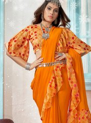 Orange Printed Designer Traditional Saree