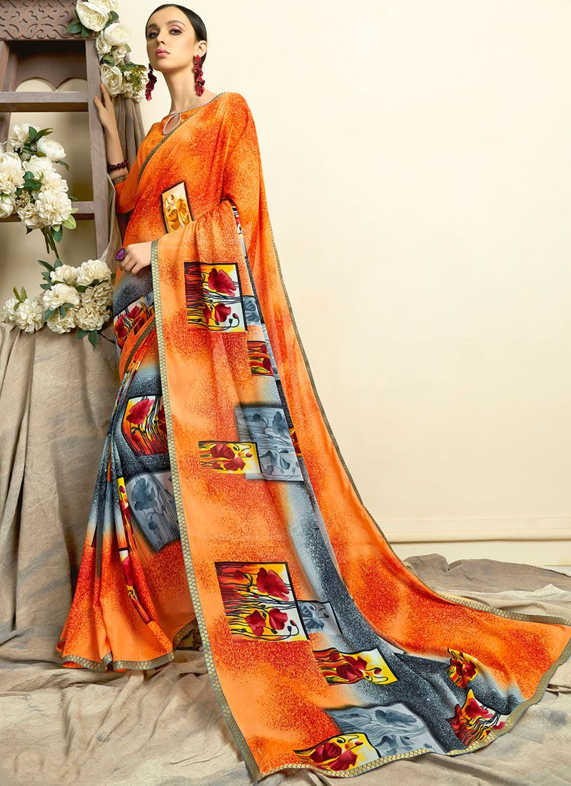 Orange Printed Mehndi Casual Saree