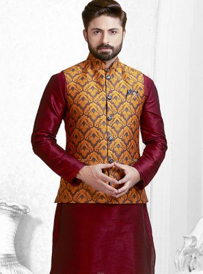 Orange Printed Nehru Jackets