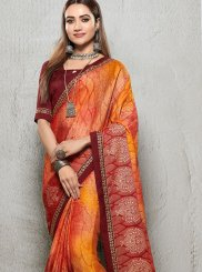 Orange Printed Trendy Saree