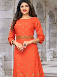 Orange Rayon Print Party Wear Kurti