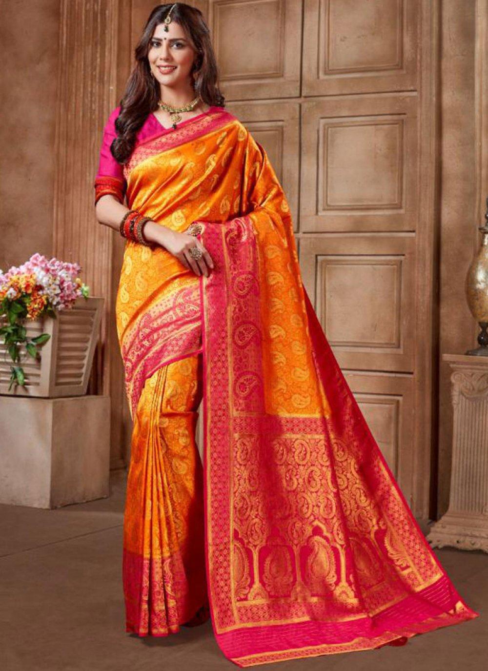 Orange Reception Designer Traditional Saree
