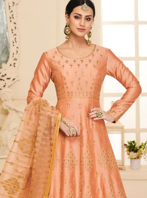 Orange Resham Mehndi Anarkali Salwar Suit