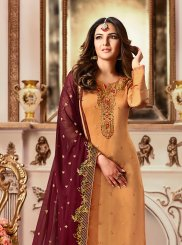 Orange Sangeet Designer Straight Salwar Suit