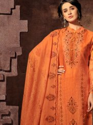 Orange Satin Abstract Print Designer Palazzo Suit