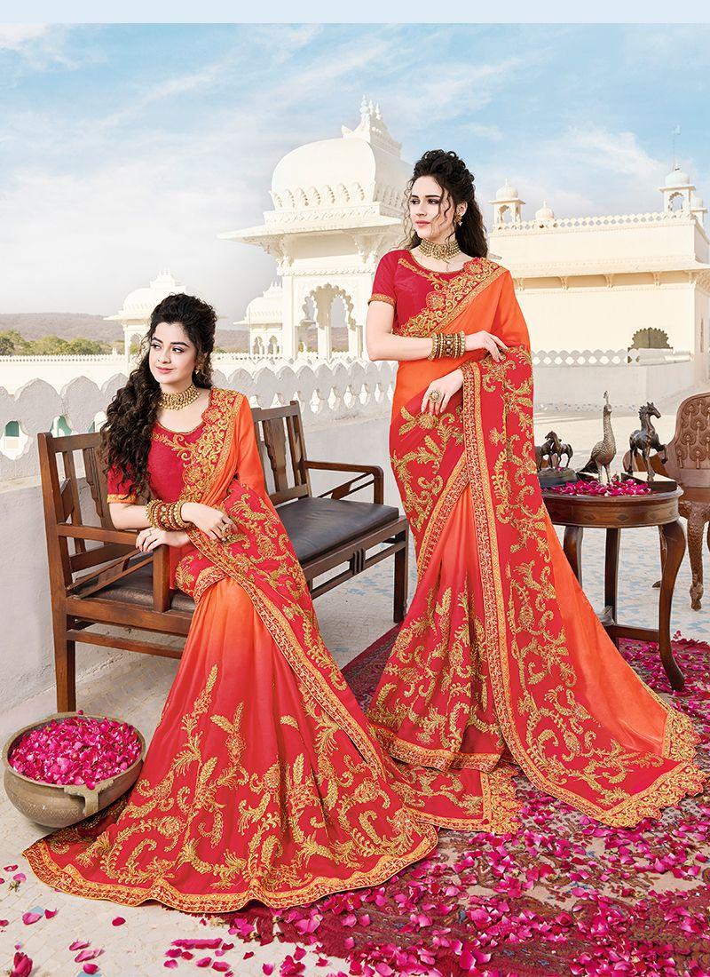 Orange Satin Classic Saree