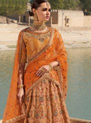 Orange Silk Ceremonial Designer Lehenga Choli