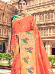 Orange Silk Ceremonial Silk Saree