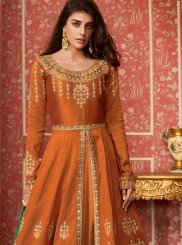 Orange Silk Desinger Anarkali Salwar Suit