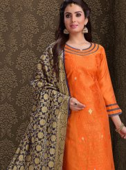 Orange Silk Embroidered Churidar Salwar Suit