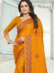 Orange Silk Party Designer Traditional Saree