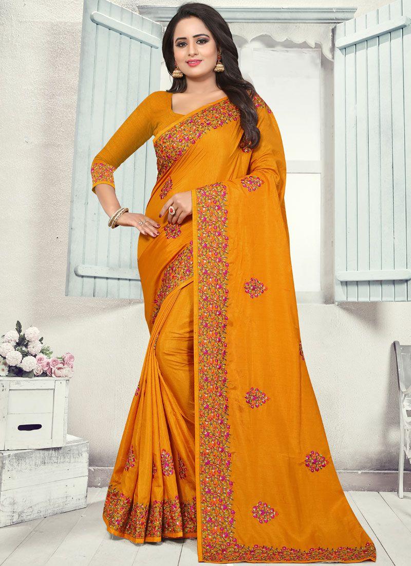 Orange Silk Party Designer Traditional Saree