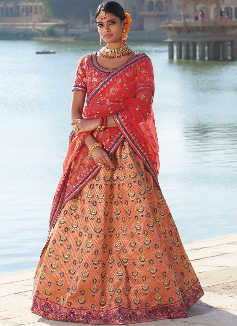 Orange Silk Trendy Designer Lehenga Choli