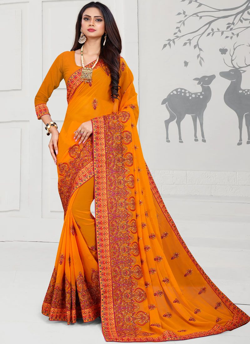 Orange Stone Work Designer Saree