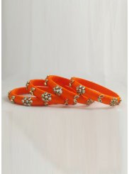 Orange Stone Work Reception Bangles