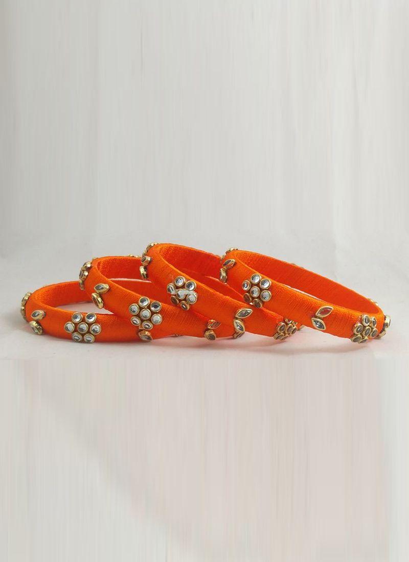 Orange Stone Work Reception Bangles
