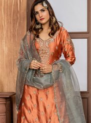 Orange Stone Work Satin Designer Palazzo Salwar Kameez