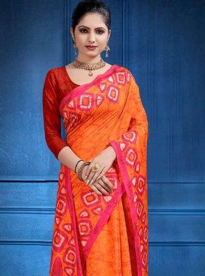 Orange Tussar Silk Classic Saree