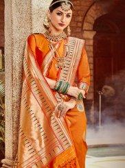 Orange Weaving Art Silk Designer Saree