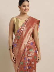 Orange Weaving Art Silk Designer Traditional Saree