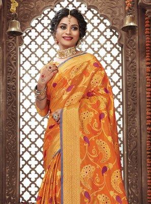 Orange Weaving Art Silk Designer Traditional Saree