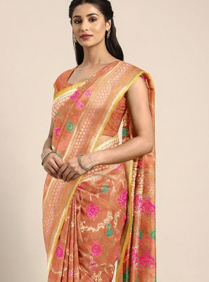 Orange Weaving Banarasi Silk Classic Saree