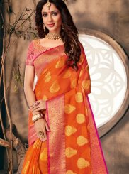 Orange Weaving Classic Saree